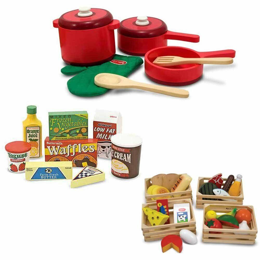 Melissa & Doug Kitchen Accessory Set with Wooden Food Groups & Fridge Food 16817