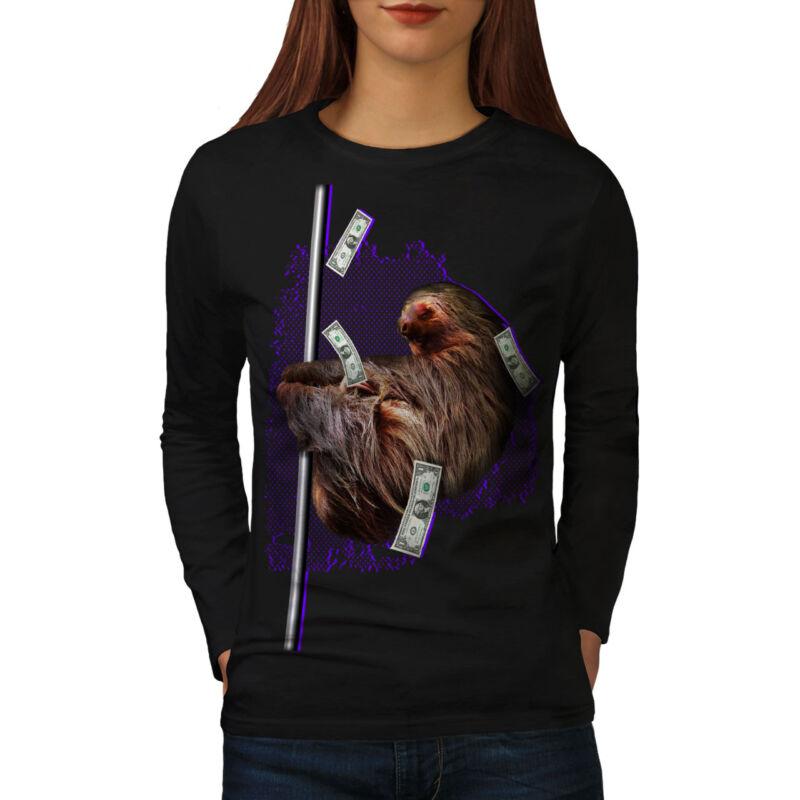 Vago Efectivo Animales Graciosos Mangas Largas De Mujer Wellcoda Camiseta Nuevo |