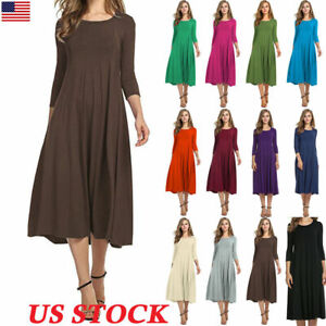 Women-Long-Sleeve-Plains-Midi-Dress-Casual-Swing-Skater-Party-Cocktail-Dress-US
