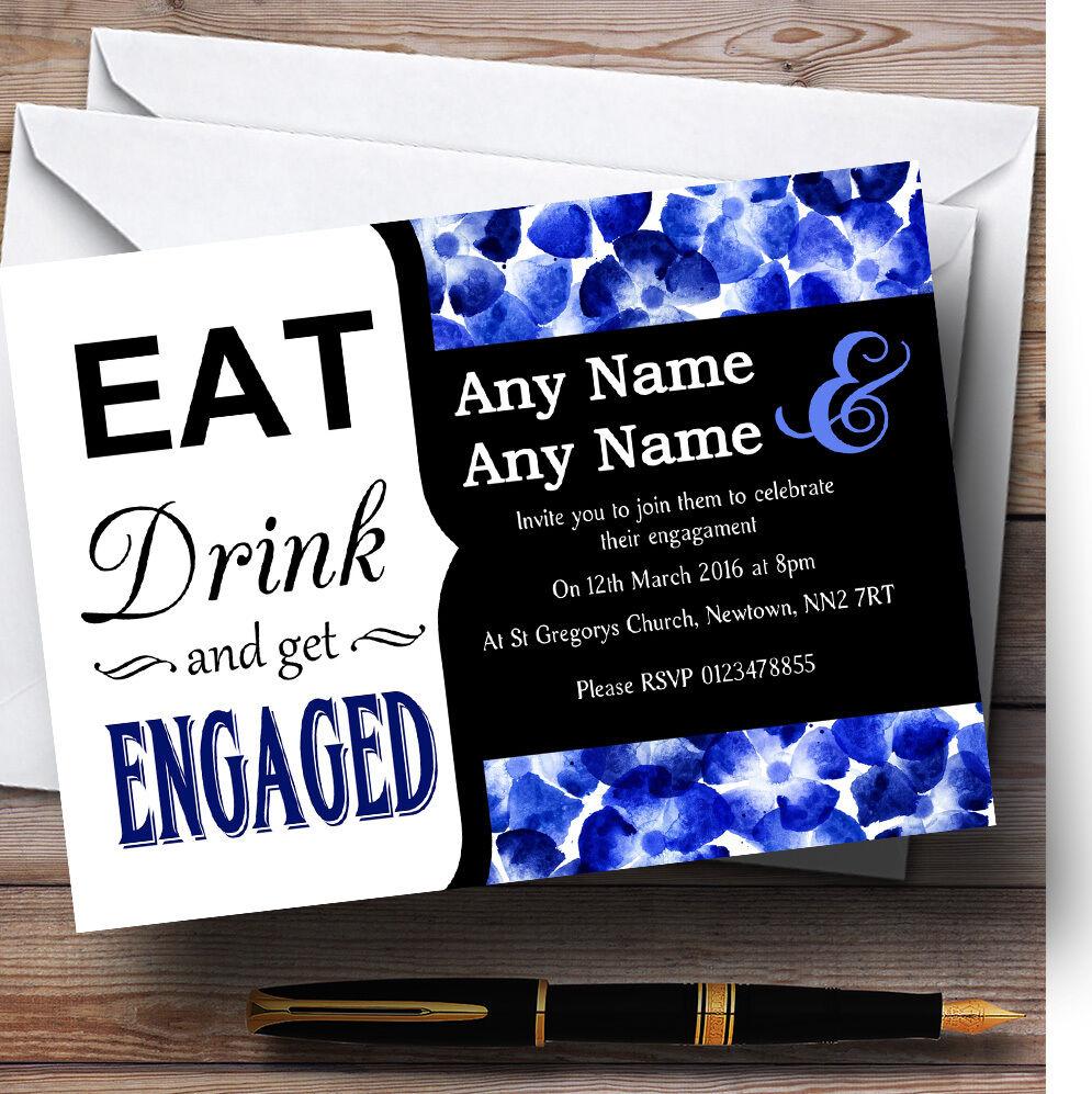 Come la Bebida Azul Acuarela Flores Personalizado Fiesta de Compromiso Invitaciones