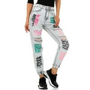 Redial Boyfriend Graffiti Print Used Jeans Shoppbündchen Baggy Jeans Gr.34-40