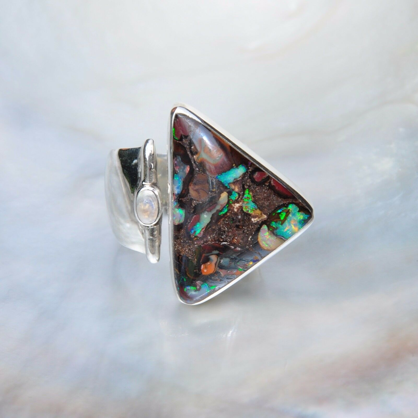 Boulder Opal Ring, 925er silver, Edelsteinring (21062), mit Mondstein