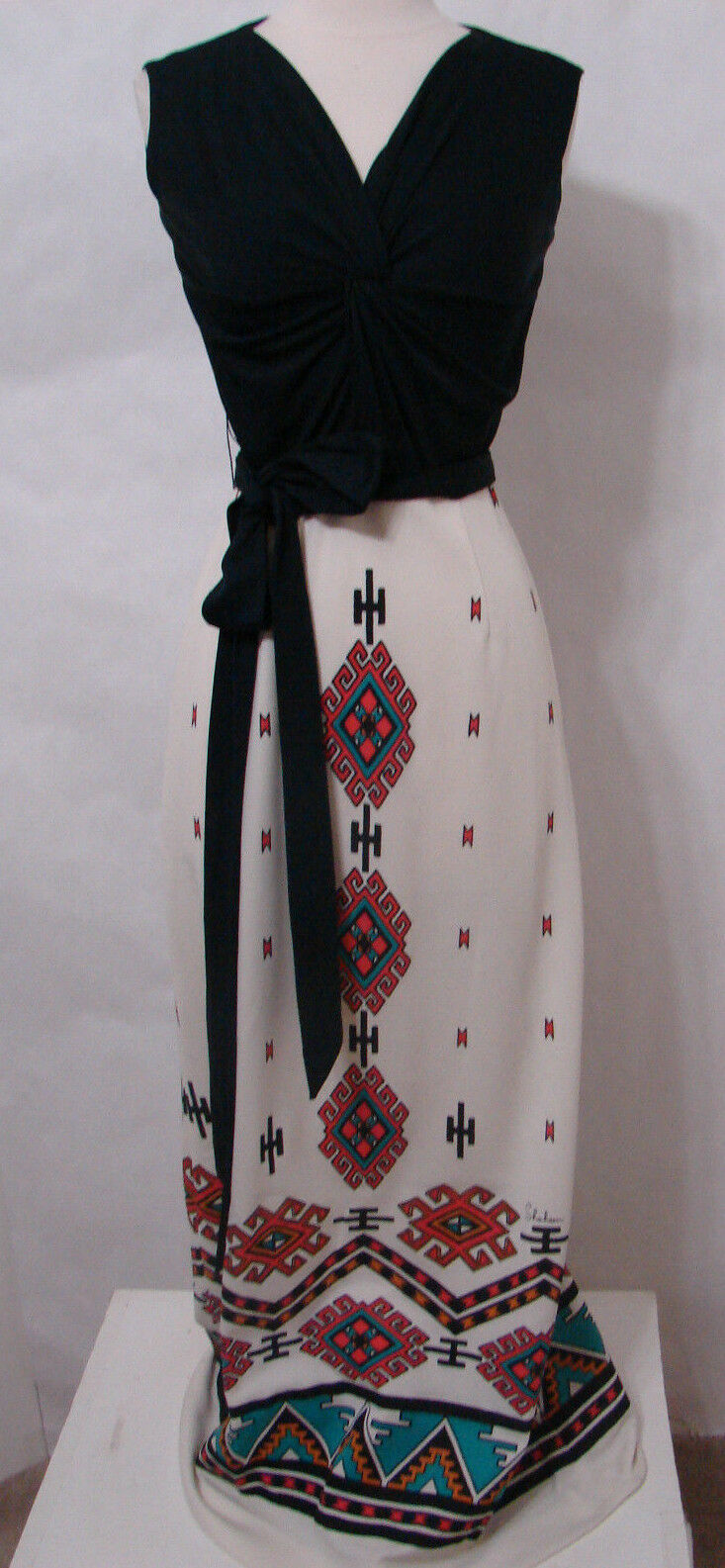 ALFRED SHAHEEN Maxi Dress Rare Vintage 60's 70's Southwest Signed Painted Print