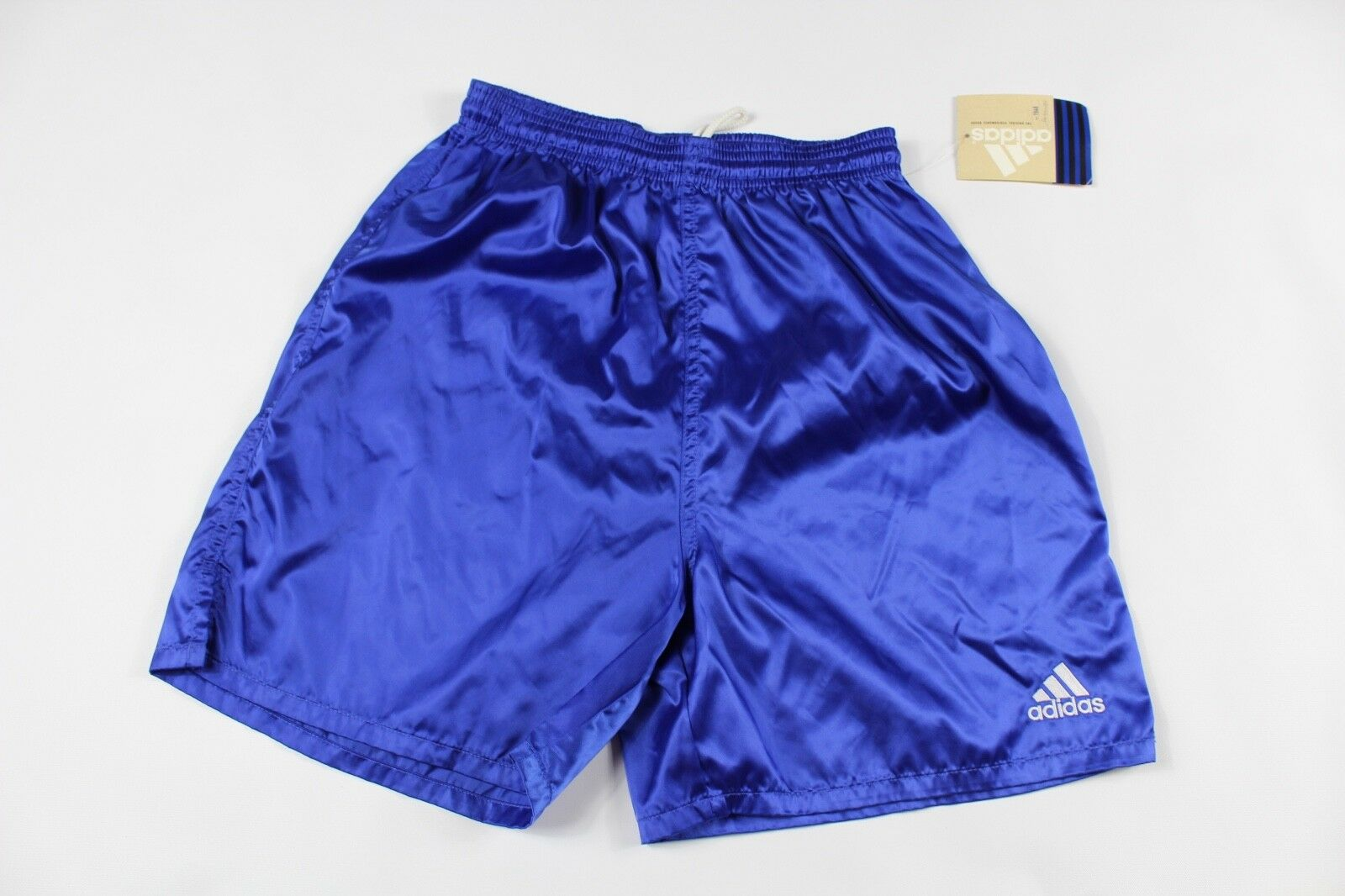 Vintage 90s New Adidas Mens Small Spell Out Soccer Jogging Gym Shorts Royal bluee