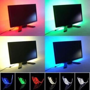 USB-alimente-RGB-Couleur-Changeante-LED-5050-bande-LED-TV-Arriere-plan-Ambient