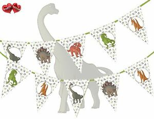 Jurassic-Collection-Dinosaurs-Assorted-Mix-Prehistoric-Bunting-Banner-15-flags