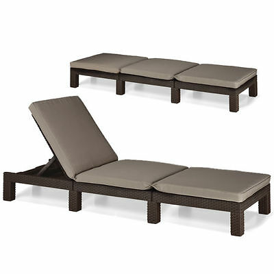 Allibert Rattan Daytona Sun lounger Garden Furniture Anthracite/C Or Brown