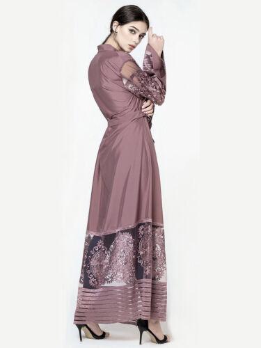 Fashion Organza Cocktail Dress Women Lace Kaftan Abaya Muslim Dubai Turkish Robe