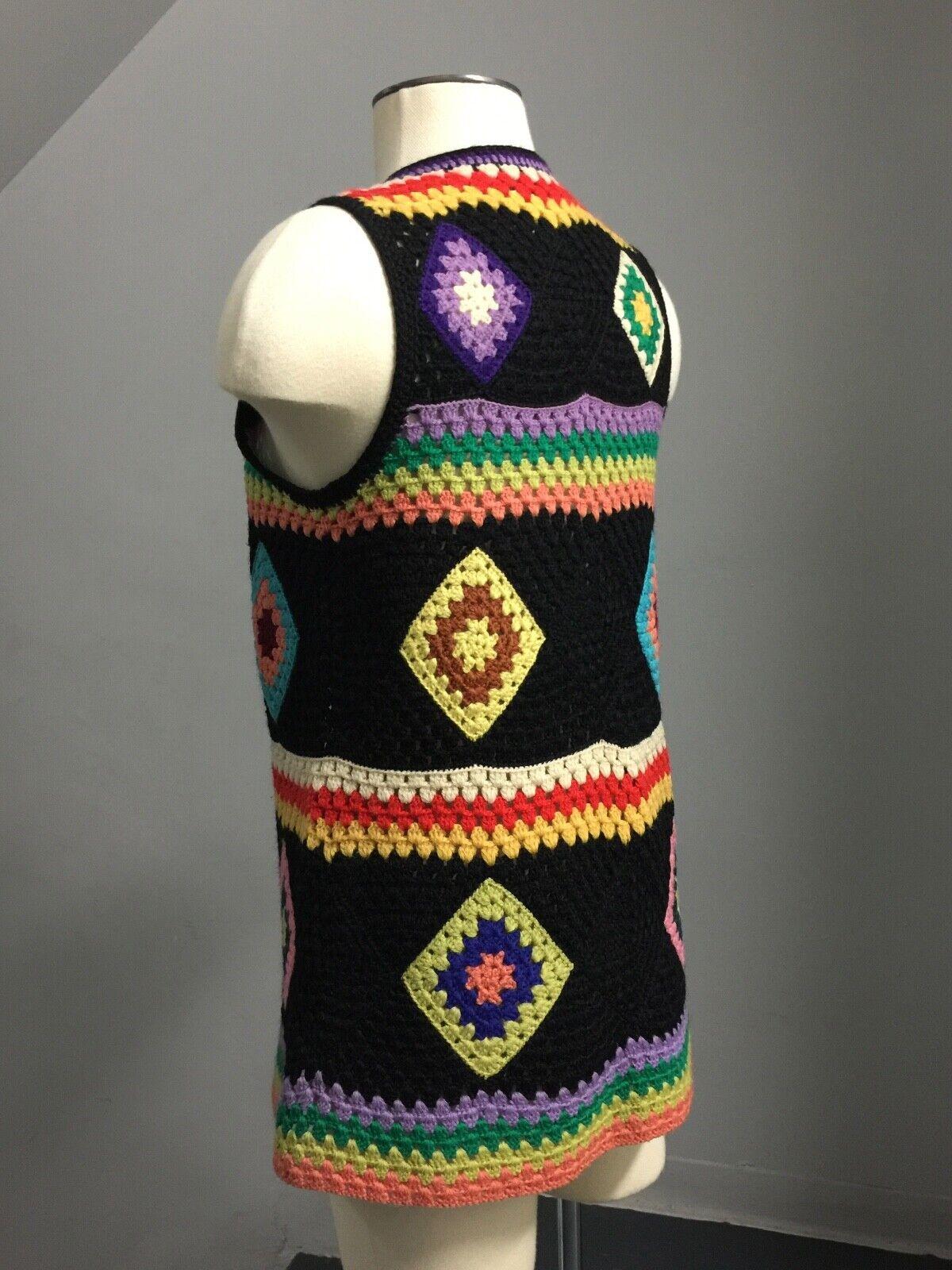 Vintage 70s Wool Handknit Crochet Black Multicolo… - image 6