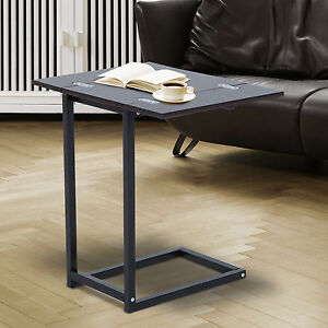 Homcom Expanding Tray End Table Foldable Side Coffee Desk C Shape Modern Home Ebay