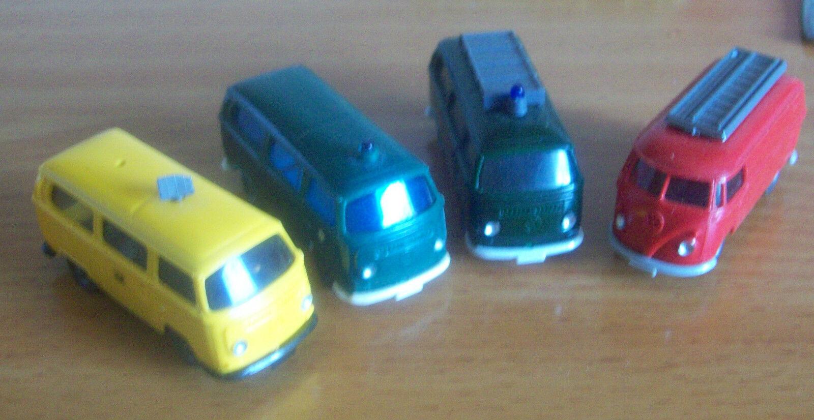 Wiking vintage début 4 VW Vans Bus Police Fire post
