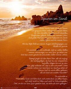 Details Zu Poster Spuren Im Sand Gedicht Fussabdrücke Strand Meer