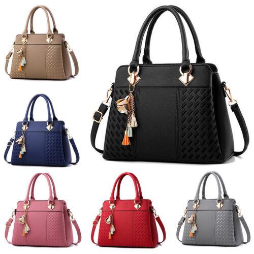 Damen Blitz Handtaschen Shopper Umhängetasche Schultertasche Anhänger Henkel