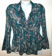 NEW SUNNY LEIGH TOP BLOUSE XL X-LARGE FRONT RUFFLE TEAL GRAY BLACK CRINKLE FLARE
