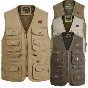 Men's Spring Autumn Vests Cotton Vest Multi-pocket vests middle-aged men's  vests | eBay
