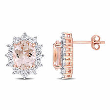 Amour Rose Plated Silver Cubic Zirconia & Simulated Morganite Stud Earrings
