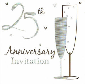 60 X Silver Wedding Anniversary Invitations Cards 25th Party Invites