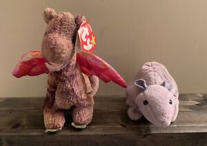 """Ty Retired Beanie Babies """"scorch"""" 1998 And """"tank"""""""