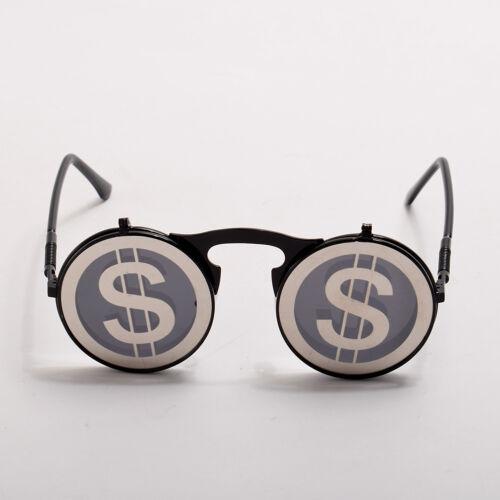 Vintage Steampunk Metal Flip-Up Round Sunglasses Halloween Cosplay Glasses Props