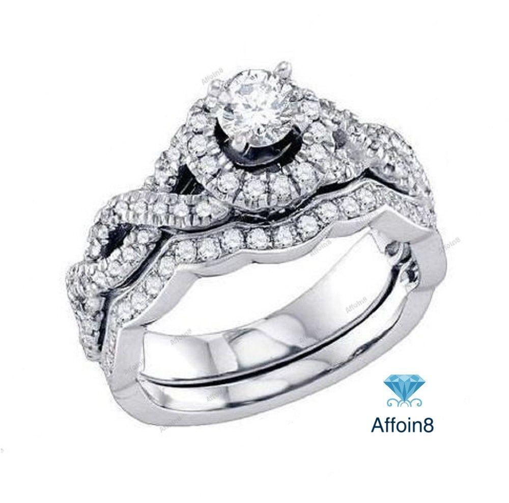 Womens 1.7Ct Round LabDiamond White gold Over Wedding Engagement Bridal Ring Set