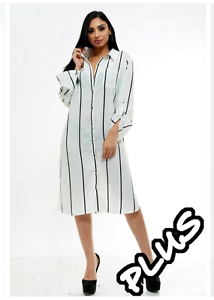 Details about Plus Size White Vertical Black Striped Button Up Collar Shirt  Dress 1X 2X 3X