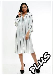 Plus Size White Vertical Black Striped Button Up Collar Shirt Dress 1X 2X 3X