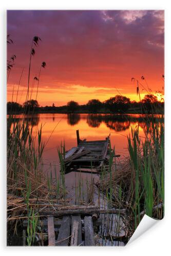 Poster 1759 Steg Landschaft Wasser Natur Sonnenuntergang am See Postereck