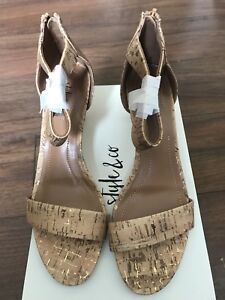 Style-amp-Co-Womens-Shoe-Paycee-Two-Piece-Dress-Sandal-Cork-Size-8M