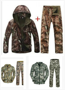 Mens-Military-Outdoor-Soft-Shell-Waterproof-Jacket-Hooded-Coat-Windbreaker-Pants
