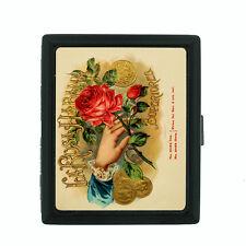 Vintage Tobacco Labels Themed D9 Small Black Cigarette Case Card Money Holder