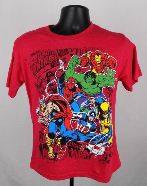 Marvel Comics Boys Blue T-Shirt New Captain America Iron Man Thor Hulk Spiderman