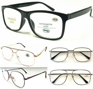 Unisex-Popular-Large-Lens-Reading-Glasses-Metal-Or-Plastic-Frame-Easy-To-Read