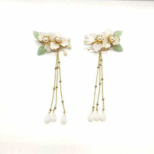 Retro Green Flower Crystal Hair Comb Hairpin for Kimono Hanfu Party Wedding