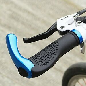 Blue-Rubber-Mountain-Cycling-Bicycle-Bike-MTB-Lock-On-Handlebar-Grips-Bar-Ends