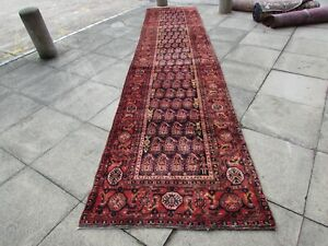 Vintage-Traditional-Hand-Made-Oriental-Wool-Blue-17-Foot-Long-Runner-500x110cm