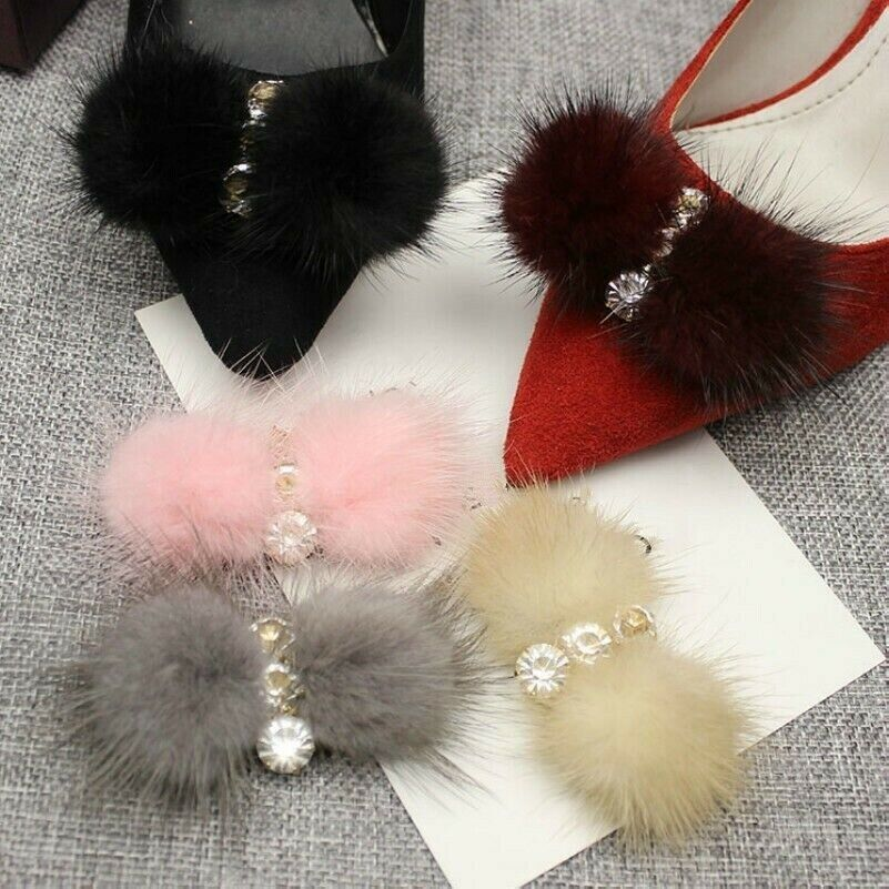 1 Pair Faux Fur Crystal Fluffy Shoe Charms Heels Sandal Chic Decor Accessories
