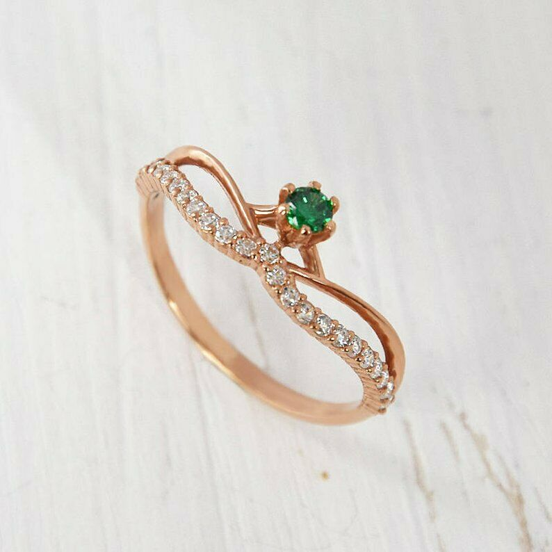 14K pink gold Emerald Natural Full Cut Diamond Engagement & Anniversary Ring
