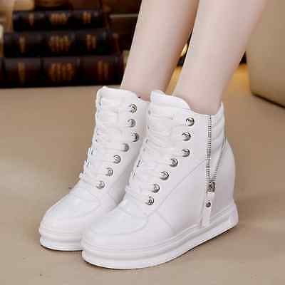 Mens Fashion INS Hidden Wedge Sneakers Koean Athletics High Top Shoes Lace Up sz