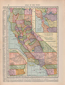 1909 MAP ~ CALIFORNIA COUNTIES CITIES-TOWNS INSET SAN FRANCISCO | eBay