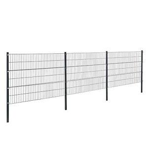 Gartenzaun 6x1,2m Grau Doppelstab Zaun Set Gittermatten Metallzaun