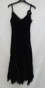 M-amp-S-Per-Una-black-velvet-long-maxi-evening-special-occasion-dress-Size-12