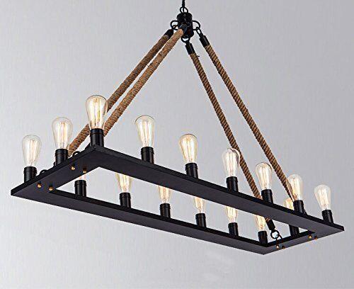 16Heads Industrial Rope Rectangle Pendant Light Lamp Chandelier Vintage Ceiling