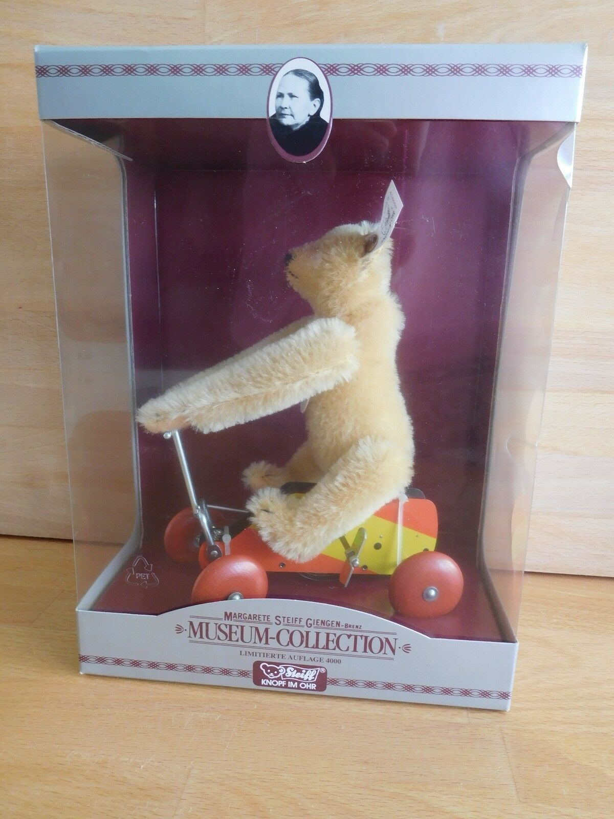 1993 REPLICA STEIFF LIMITED EDITION MUSEUM COLLECTION WIND UP BEAR ON TRIKE