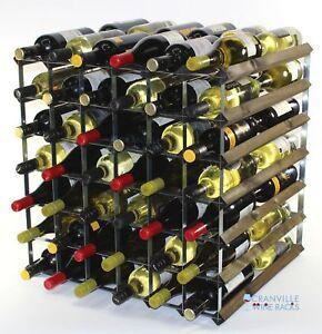 Double Depth 84 Bottle Dark Oak Stained Wood And Metal Wine Rack