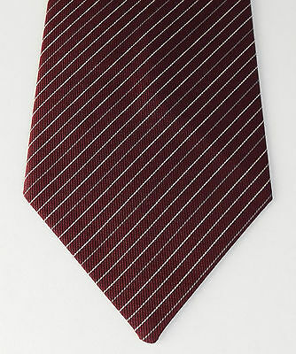 100% Vero Bordeaux Pin A Righe Cravatta Sobria Business Abiti British Bhs Formale Vintage 1980s-mostra Il Titolo Originale Prima Qualità