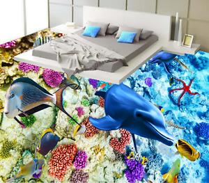 3D Lindo Pez Delfín 83 papel tapiz de la impresión de parojo murales piso AJ Wallpaper Reino Unido Limón