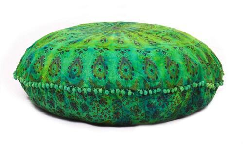 Indian Mandala Floor Pillow Round Cushion Cover Bohemian Dog Bed Poufe Sham Case