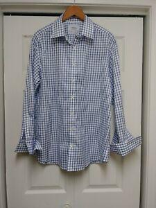 Men-Charles-Tyrwhitt-Blue-Check-Shirt-Slim-Fit-Non-Iron-17-1-2-44-French-Cuff