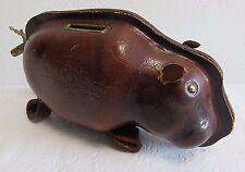 "Vintage Leather Piggy Pig Bank w/ Mini Lock and Key 7 1/4"""
