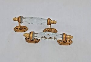 Vintage-Look-Brass-Clear-Victorian-Cut-Glass-2-Pc-Pull-Push-Door-Drawer-Handle